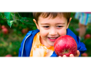 Healthy child with an apple